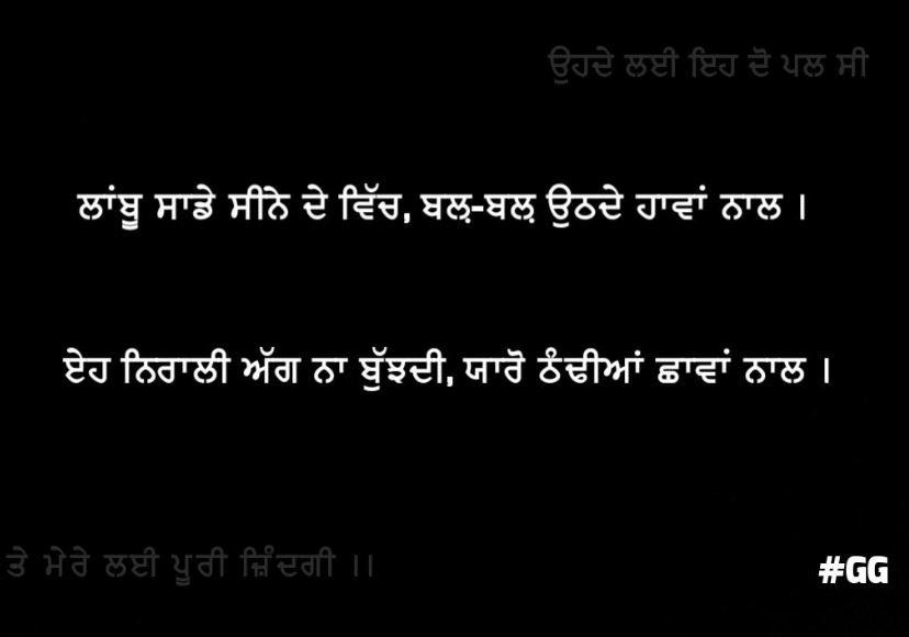 naa bhulan wali shayari | laanbhu saadhe seene vich bal bal uthde