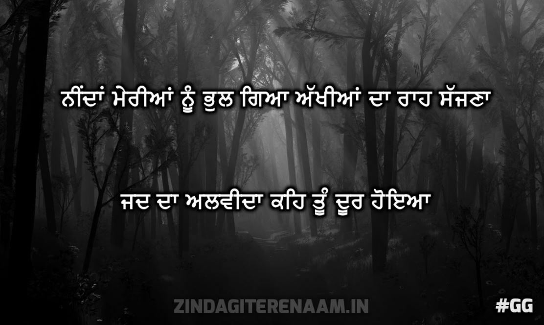 love true shayari | Neendan meriyaan nu bhul gya akhiyaan da raah sajhna jad da alwida keh tu door hoyea