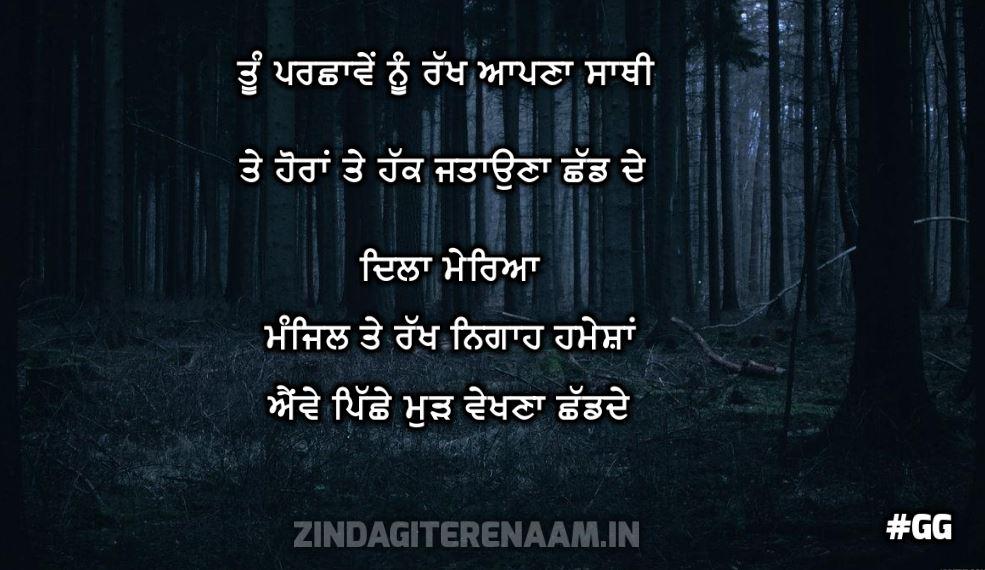 inspirational shayari punjabi || Tu parchhawe nu rakh aapna sathi te horaan te hak jatauna chhad de dila mereya manzil te rakh nigah hamesha awe pichhe mudh dekhna chhad de