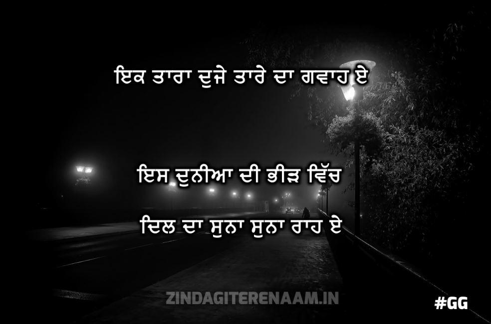 very sad punjabi shayari || Ik tara dujhe tare da gawah e es duniyaa di bheed vich dil da suna suna raah e