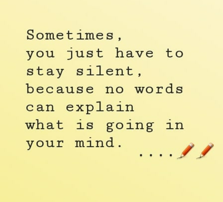 Sometimes, you just have to stay silent