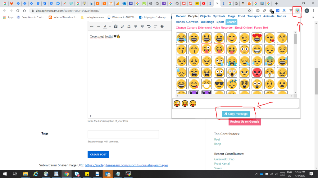 Add emoticons through chrome extension