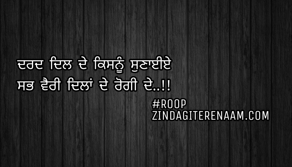Sad but true shayari    Punjabi status    Dard dil de kisnu sunayiye Sab vairi dilan de rogi de..!!