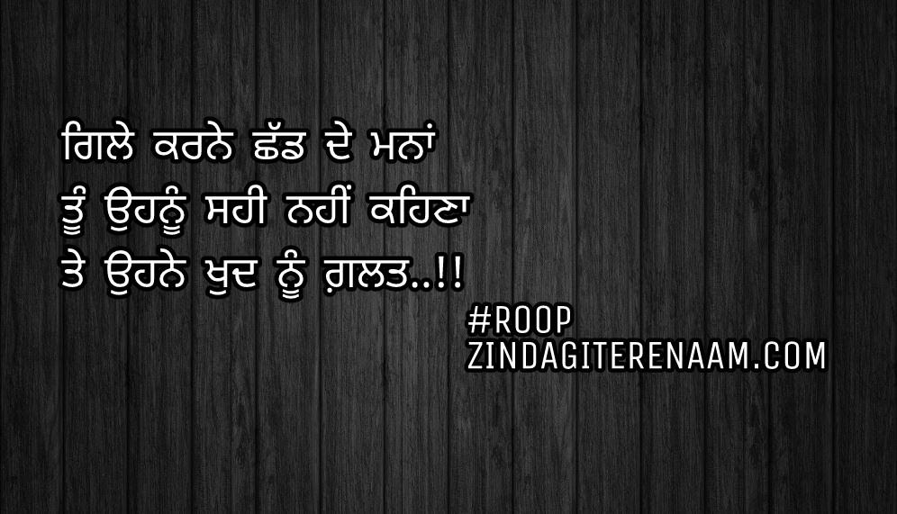 Heart broken Punjabi shayari    sad status    Gile karne shadd de mana Tu ohnu sahi nahi kehna Te ohne khud nu galat..!!
