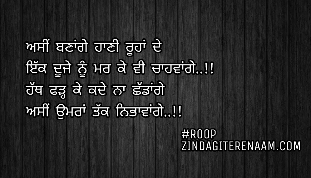 Punjabi love shayari || true love Punjabi status || Asi banage haani roohan de Ikk duje nu mar ke vi chahwange..!! Hath fadh ke kade na shaddange Asi umran takk nibhawange..!!