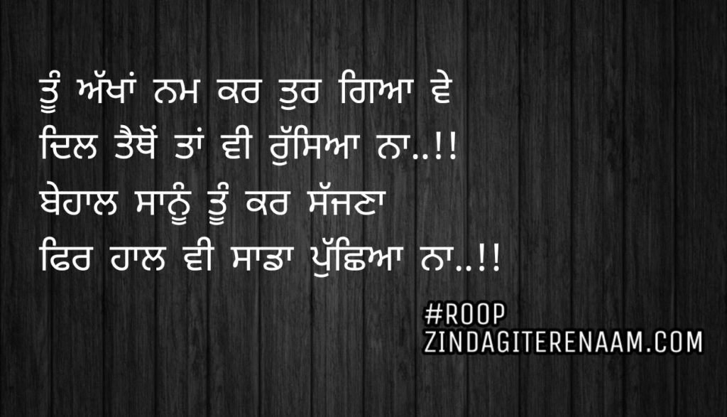 Sad Punjabi shayari ||Tu akhan nam kar tur gaya ve Dil tethon taa vi Russeya na..!! Behaal sanu tu kar sajjna Fer haal vi sada pucheya na..!!